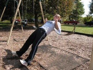 inverted rows using a swing set