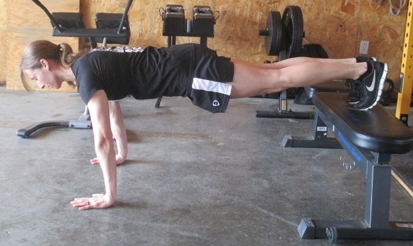 feet elevated pushups (harder)