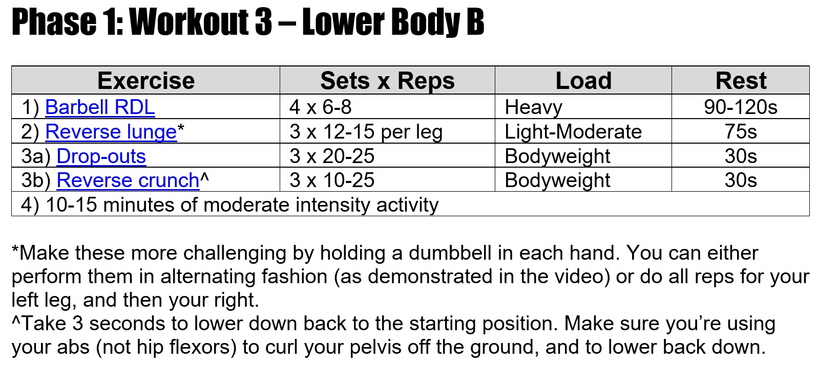 Phase 1 Workout 3